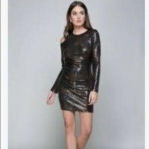 bebe Sequin Cold Shoulder Dress Medium Gold Dress
